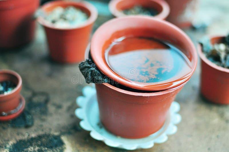 Stagnerend water in ongebruikte potten stock foto