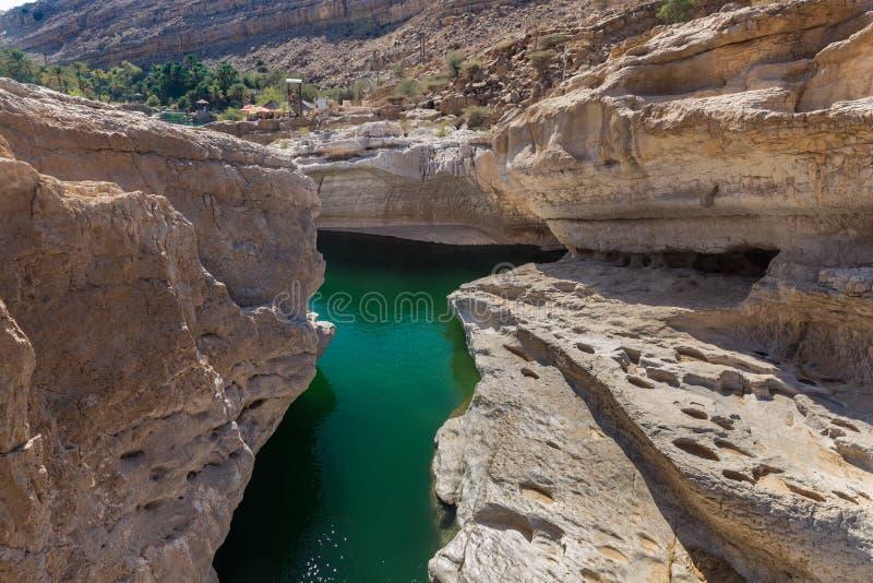 Stagni verde smeraldo in Wadi Bani Khalid, Oman immagine stock libera da diritti