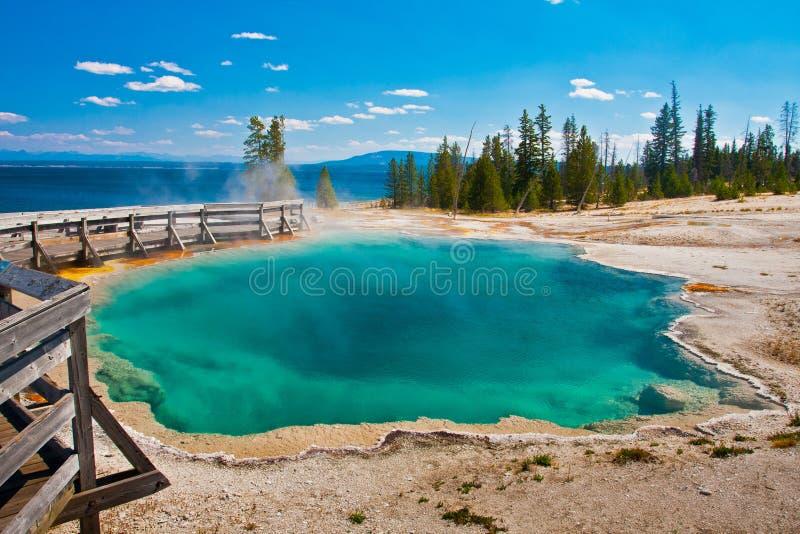 Stagno blu della sorgente di acqua calda nel parco nazionale di Yellowstone fotografia stock libera da diritti