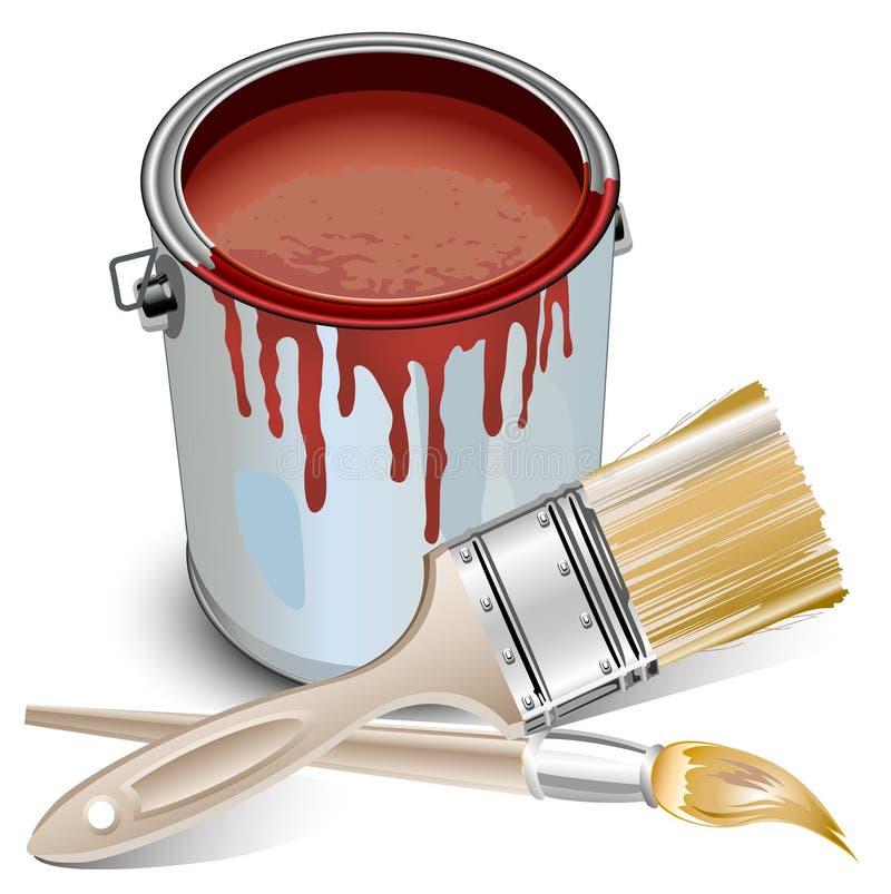 Stagno con vernice e le spazzole illustrazione vettoriale