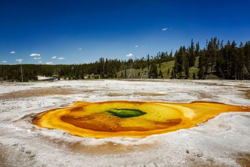 Stagno cromatico, bacino superiore del geyser, parco nazionale di Yellowstone immagine stock libera da diritti