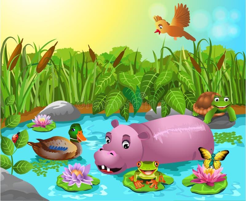Stagno del fumetto con l'ippopotamo e l'anatra selvatica illustrazione di stock