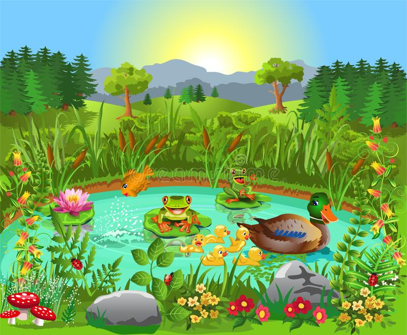 Stagno dell'anatra vicino alla foresta ed alle montagne royalty illustrazione gratis