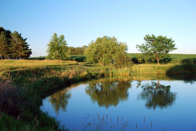 Stagno dell'azienda agricola nel Nebraska fotografia stock libera da diritti