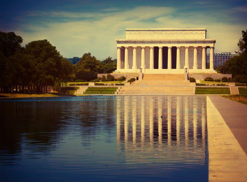 Stagno Washington di riflessione di Abraham Lincoln Memorial fotografie stock