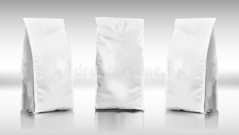 stagnola dello spazio in bianco 3D o pacchetto della borsa del sacchetto dell'alimento della carta illustrazione di stock