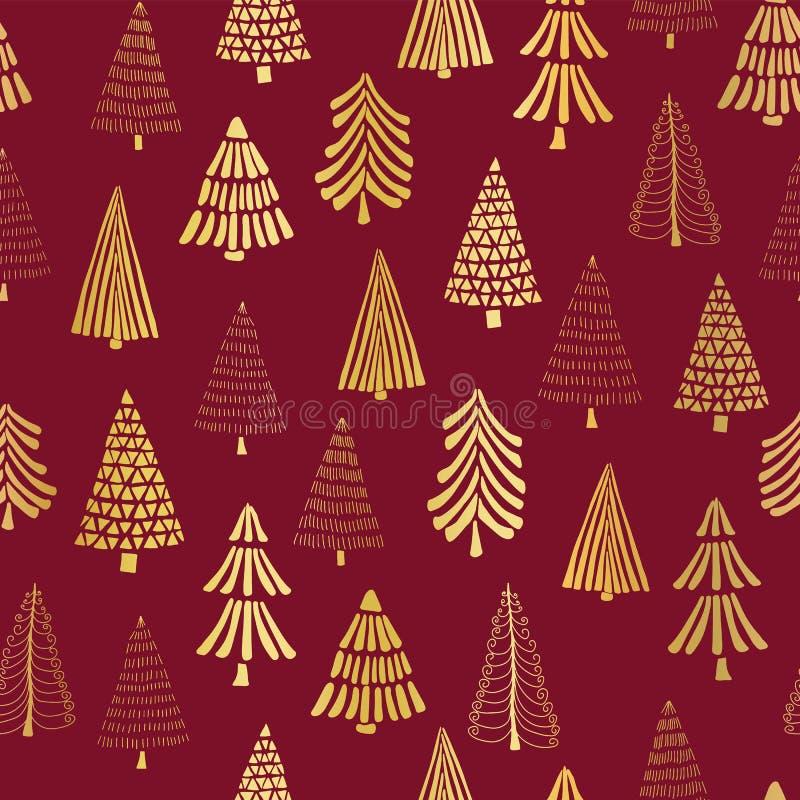 Stagnola di oro disegnata a mano degli alberi di Natale sul fondo senza cuciture rosso del modello di vettore Alberi dorati brill royalty illustrazione gratis