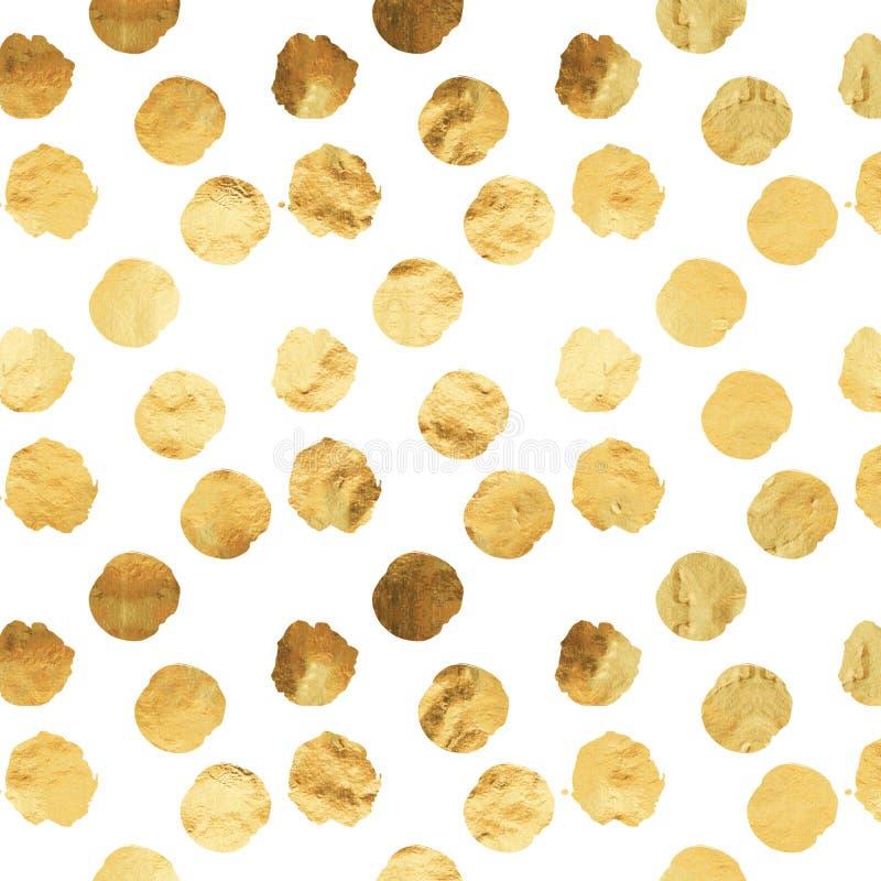 Stagnola Dots White Background Pattern metallico del Faux dell'oro immagine stock