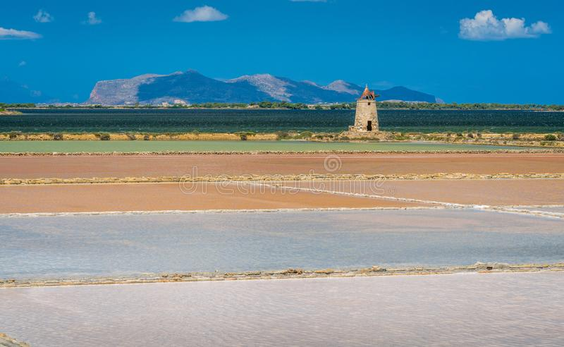 Salt flats at the natural reserve of the `Saline dello Stagnone` near Marsala and Trapani, Sicily. royalty free stock images