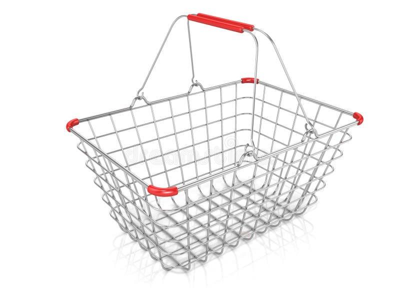 Stahldraht-Einkaufskorb lokalisiert lizenzfreie abbildung