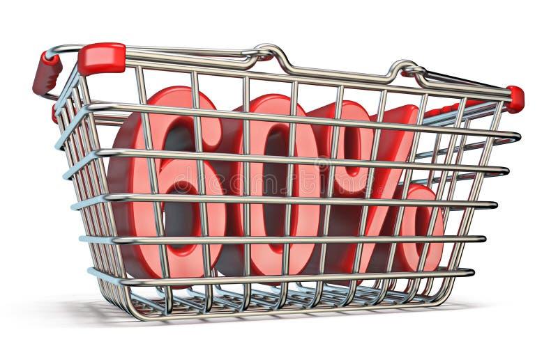 Stahleinkaufskorb 60-PROZENT-Zeichen 3D lizenzfreie abbildung