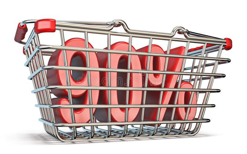 Stahleinkaufskorb 90-PROZENT-Zeichen 3D vektor abbildung