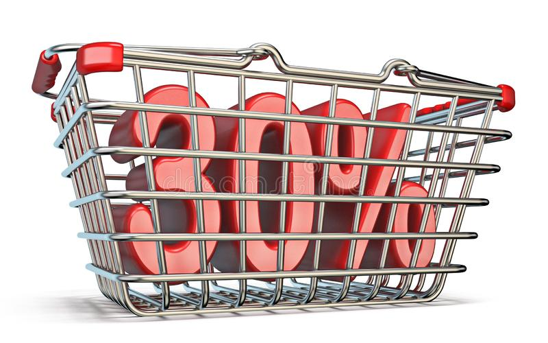 Stahleinkaufskorb 30-PROZENT-Zeichen 3D stock abbildung