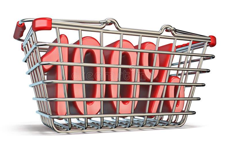 Stahleinkaufskorb 100-PROZENT-Zeichen 3D lizenzfreie abbildung