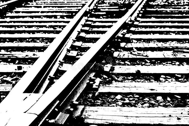 Stahleisenbahnlinien Schlachtfeld, WA, USA - Effekt der Schwelle B&W stockfotos