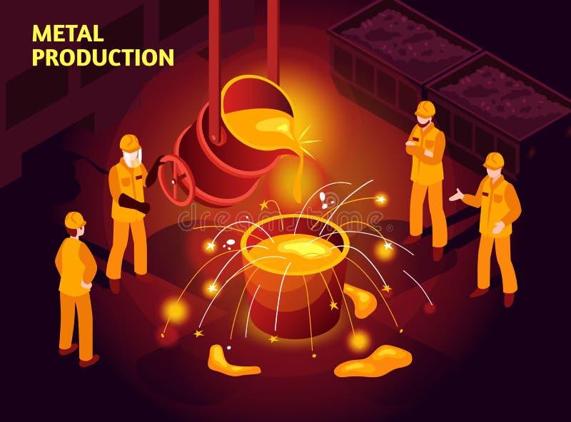 Stahlindustrie-isometrisches Plakat vektor abbildung