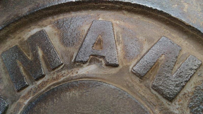 Stahlplatte das Wort, das Mann hat säubern Sie mehr stockfotografie