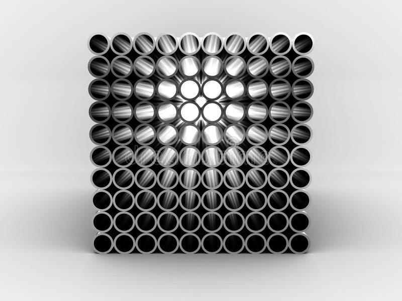 Stahlrohre getrennt auf weißem Hintergrund. 3D stock abbildung