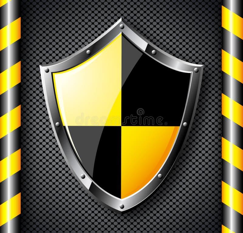 Stahlschild über Schwarzes punktiertem Hintergrund. lizenzfreie abbildung
