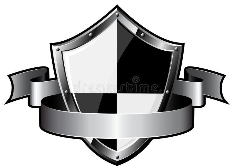 Stahlschild mit Farbband vektor abbildung