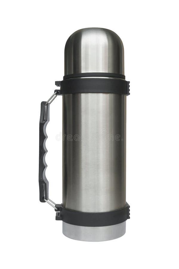 Stahlthermos lizenzfreie stockbilder