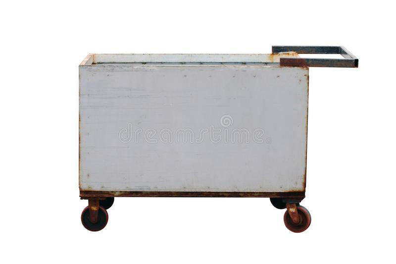 Stahlwarenkorb, heben Ihre alten Waren, Laufkatzenquadratische geformte Stahllaufkatze, Anhängerabfall auf und freier Raum, setzt lizenzfreies stockbild