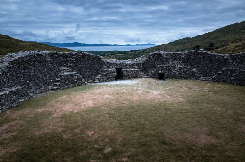 Staigue石堡垒废墟 库存照片