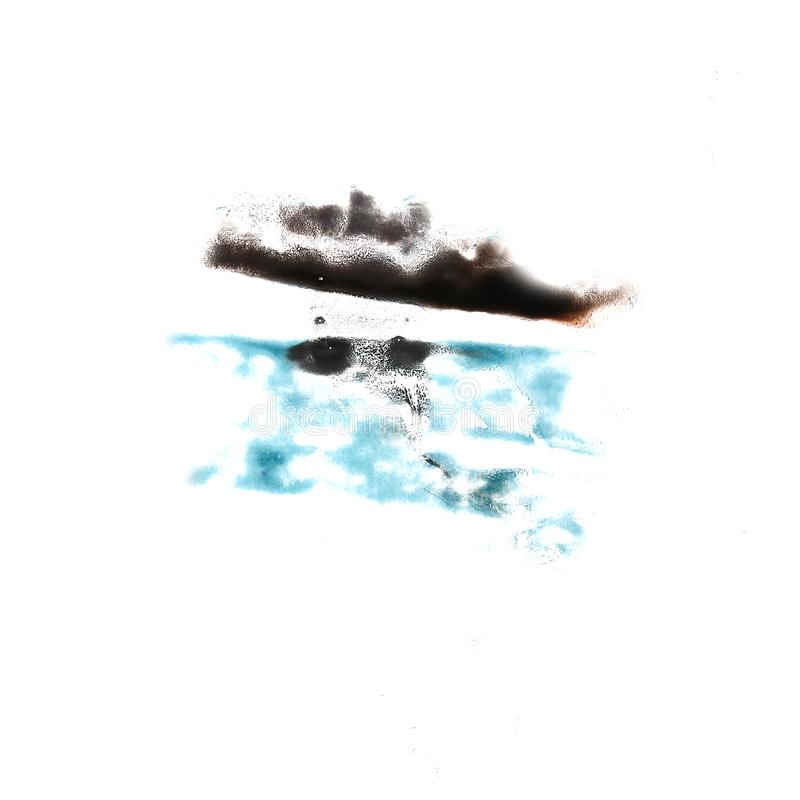 Stain with black, turquoise watercolour paint stroke watercolor. Isolated royalty free stock photos