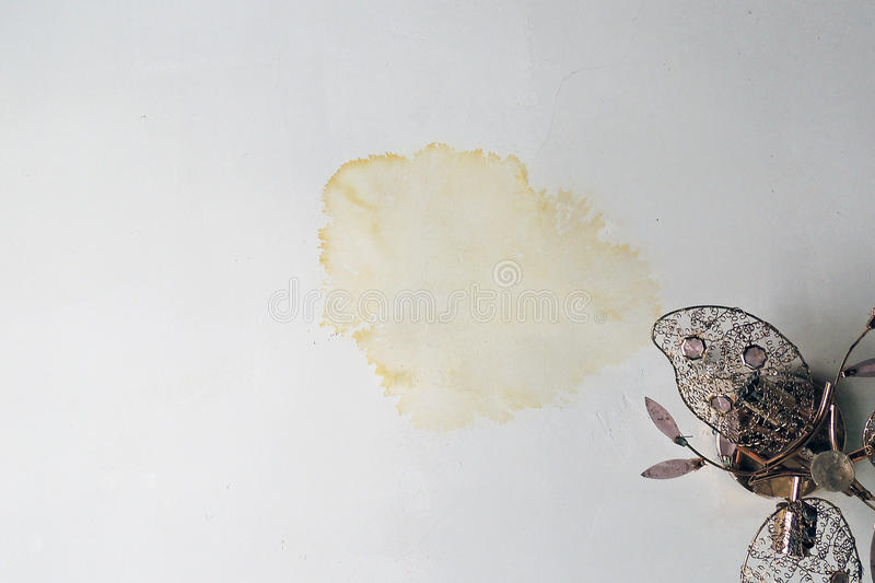 Stain on ceiling from rain royalty free stock photos