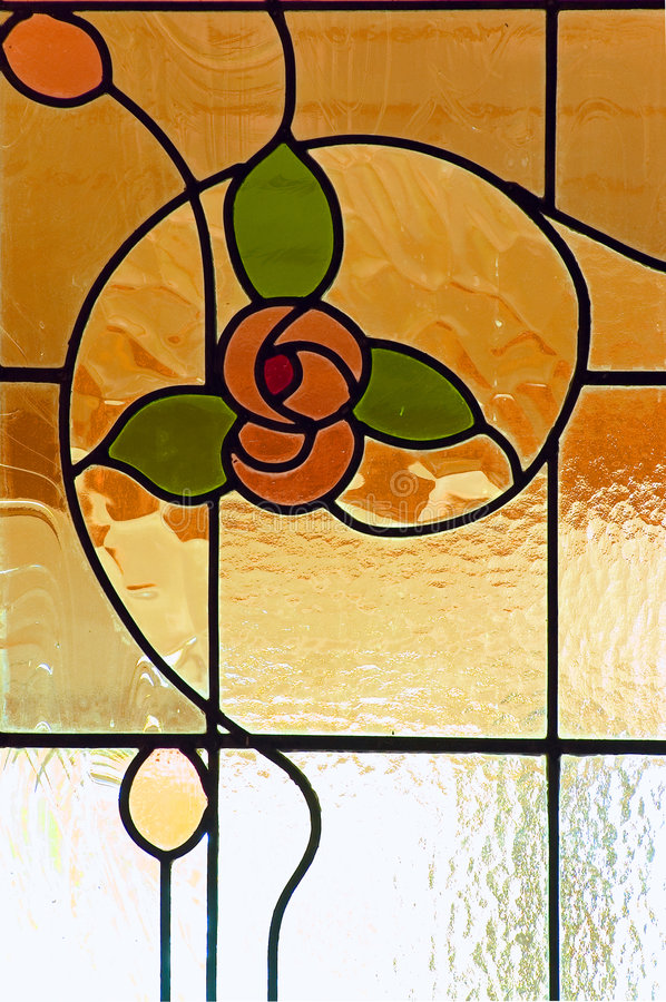 Stain glass window. A beautiful stain glass window found on a door in a heritage listed house royalty free stock images