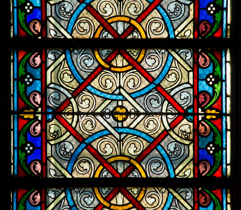 Stain glass window. Old church colorful stain glass window texture royalty free stock photo