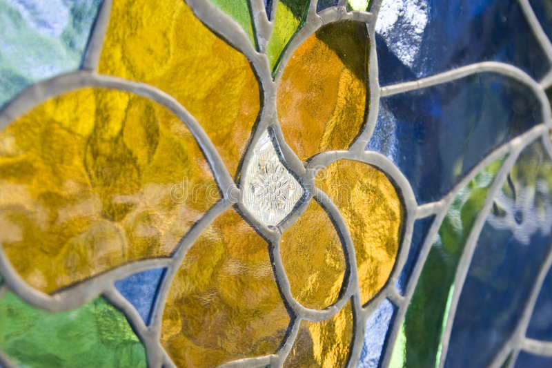 Stain Glass Window. With flower pattern royalty free stock photo