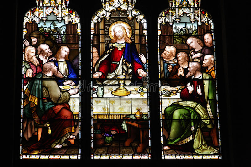 Stain glass windows of last supper stock image