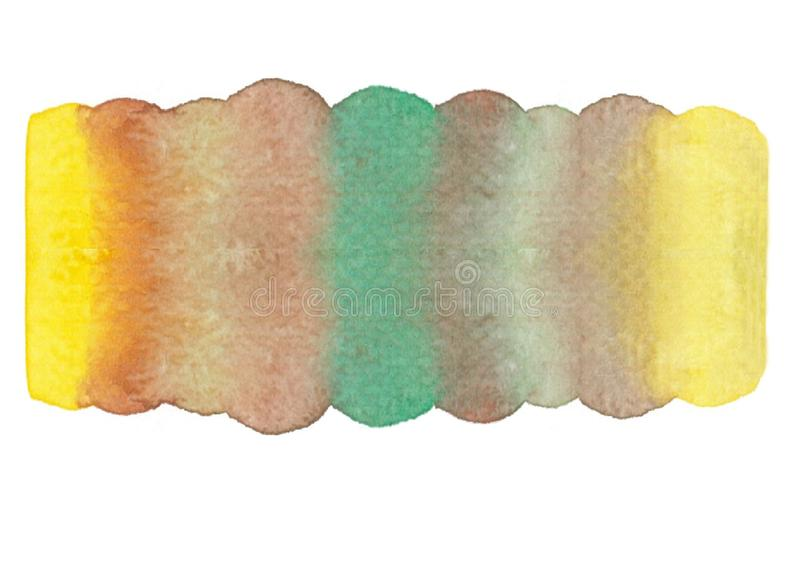 Stain lemon orange green brown yellow gradient watercolor hand drawn painting is isolated with white background. stock image