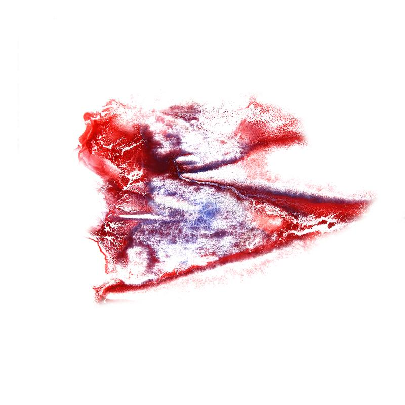 Stain with watercolour cherry, lilac paint stroke watercolor iso. Lated stock image