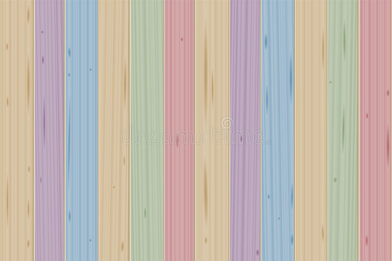 Stained Boards Wooden Colored Wall. Stained boards - colorful wooden wall - vector illustration background stock illustration
