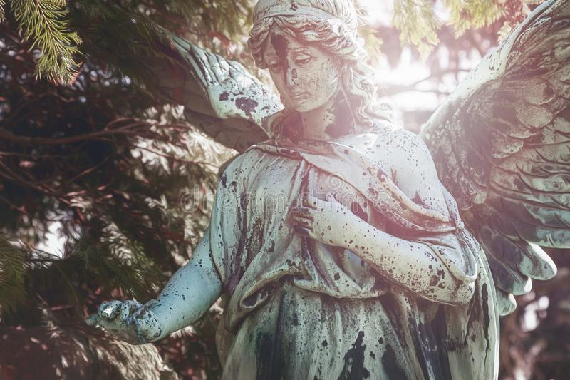 Stained bronze sculpture of an angle royalty free stock photos
