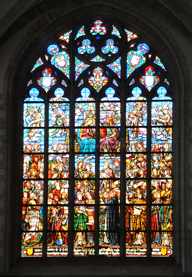 Stained Glass. Window in a old church in Antwerp Belgium royalty free stock images