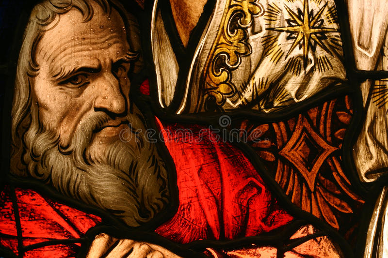 Stained Glass. Beautiful stained glass depicting religious scene royalty free stock images