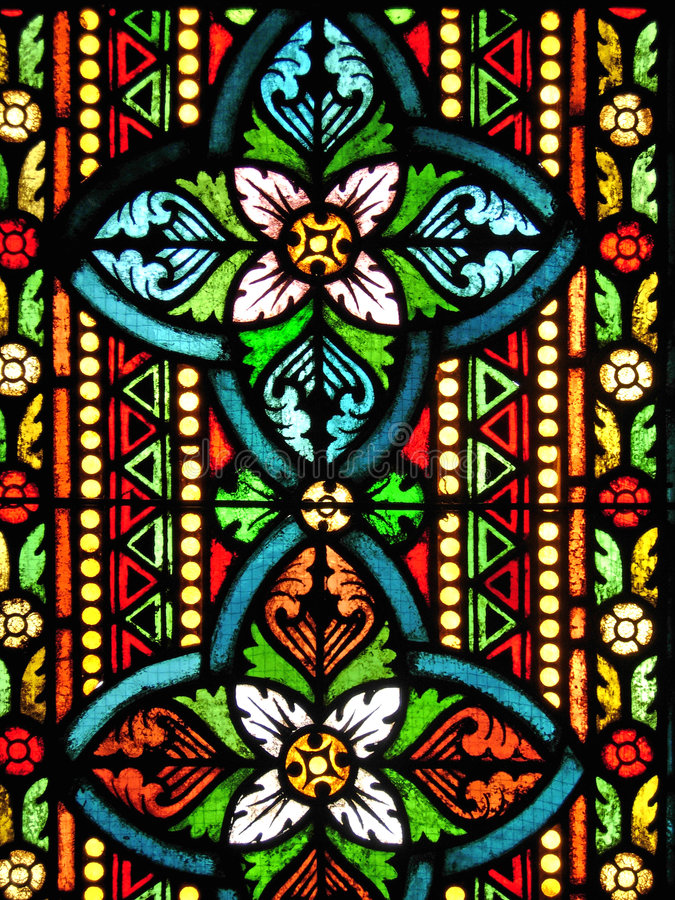 Stained Glass. Window, St. Matthias Church, Budapest, Hungary stock image