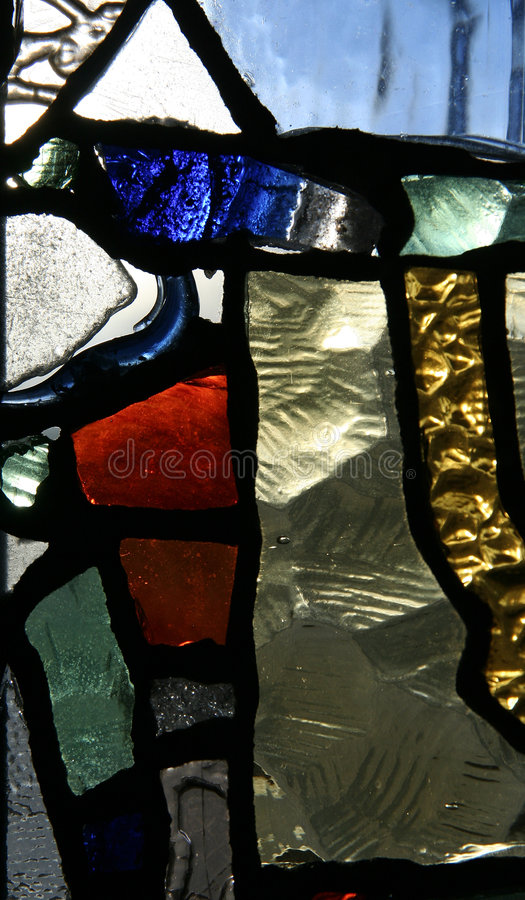 STAINED GLASS. Vitrage with colourful glass royalty free stock photography