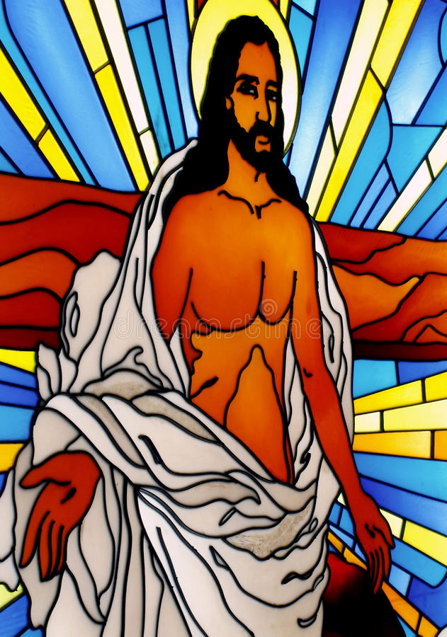 Stained glass. Design in the catholic church stock photo