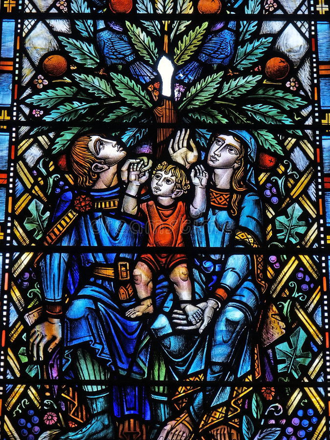 Stained glass. Window in Glasgow's cathedral royalty free stock photos