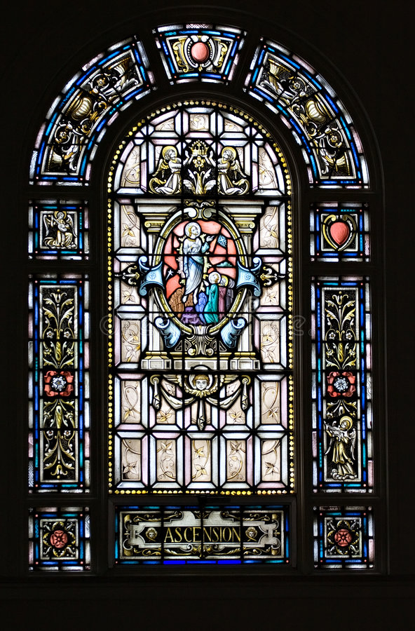 Stained Glass. A stained glass - Ascension - Holy Rosary Catholic - Little Italy, Cleveland OH royalty free stock image