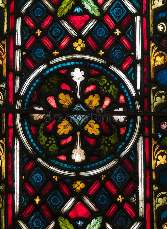 Stained Glass. Panel of a historical gothic styled cathedral royalty free stock photography