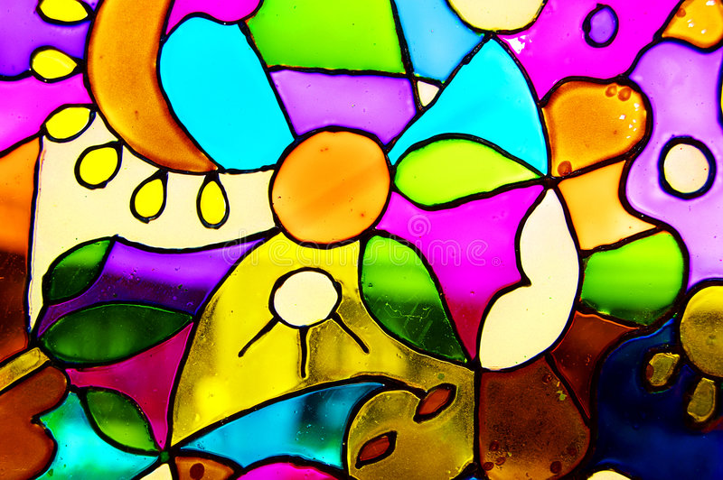 Stained glass. Window built from the glass in various colours royalty free stock photography