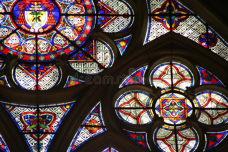 Stained glass. In the gothic cathedral of Sens, France royalty free stock images