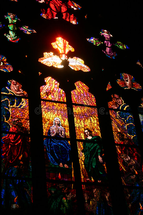 Stained Glass. Window in the Prague Cathedral stock photo