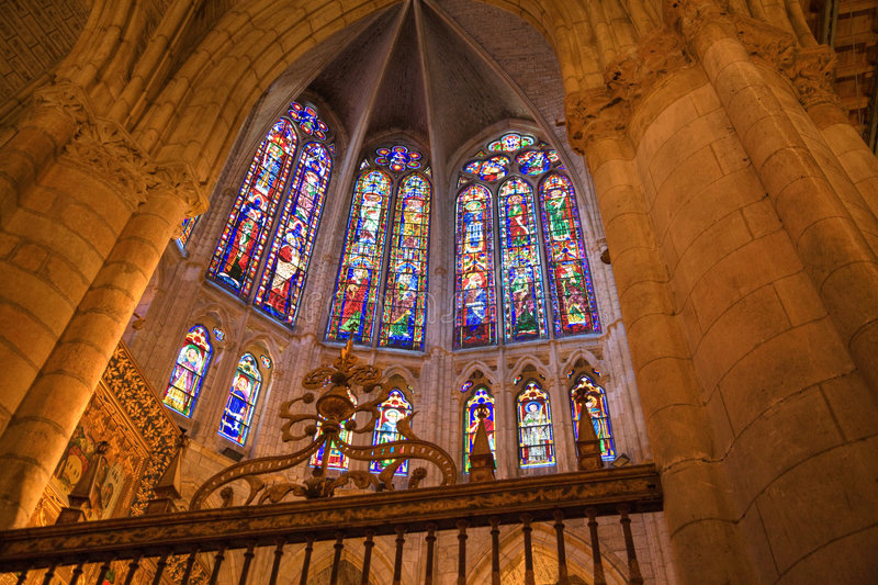Stained glass. Windows from Leon Cathedral, Spain royalty free stock image