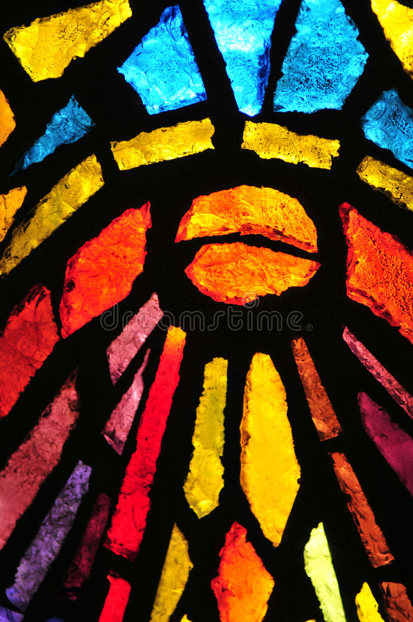Stained glass. At the church of the annunciation, Nazareth, Israel royalty free stock photo